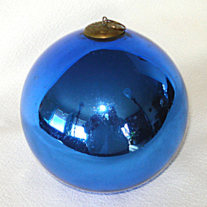 Antique Large Cobalt Blue German Glass Kugel Christmas Ornament (Image1)