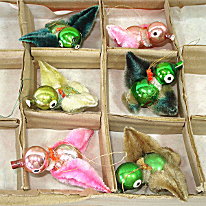Box 6 Chenille Glass Birds Christmas Ornaments 1950s Japan