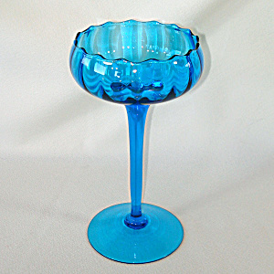Blue Empoli Blown Art Glass Tall Compote Mid Century