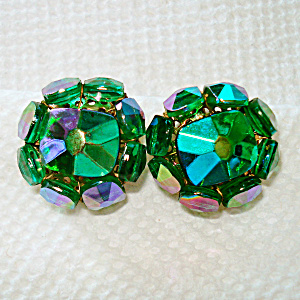 Vogue Green Ab Faceted Crystal Cluster Clip Earrings