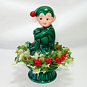 Inarco Christmas Holly Pixie Elf Ceramic Figurine (Image1)