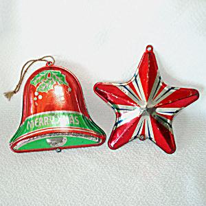 1930s USA Tin Litho Bell, Star Metal Christmas Ornaments (Image1)