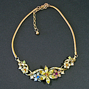 Coro Colorful Rhinestone Flower Necklace