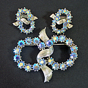 Coro Ice Blue Ab Rhinestones Brooch Earrings Set