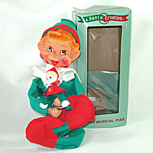 Adorable Retro Musical Wind-up Christmas Pixie Elf In Original Box