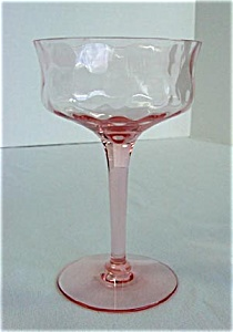 Tiffin Rose Pink Diamond Optic Saucer Champagne Goblet