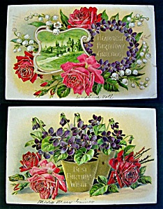 2 Embossed Birthday Postcards with Roses and Violets 1909 (Image1)