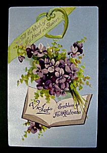 Violets Emblem of Faithfulness Antique Greeting Postcard (Image1)