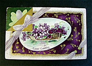 Early 1900s Easter Greetings Postcard - Violets in Rowboat (Image1)