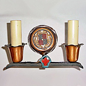 Arts and Crafts Copper and Cast Iron Double Electric Wall Sconce Light Fixture (Image1)