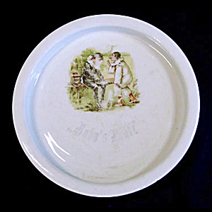 Bavarian Childs Baby Feeding Plate Naughty Pierrot Smoking Cigars (Image1)