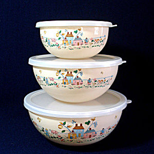 International Heartland Enameled Metal Mixing Bowl Set