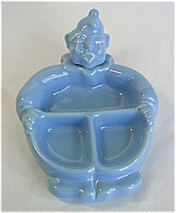 Red Wing Pottery Hankscraft Blue Clown Baby Feeding Dish (Image1)