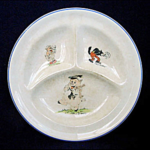 Walt Disney 3 Pigs 1930s Divided Childs Feeding Plate (Image1)