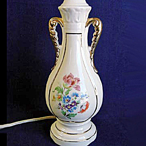 Ceramic Small Table or Boudoir Lamp Handled Urn with Flowers (Image1)