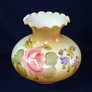 Hand Painted Roses Ruffled Glass Light Lamp Shade 6.75 Inch Fitter