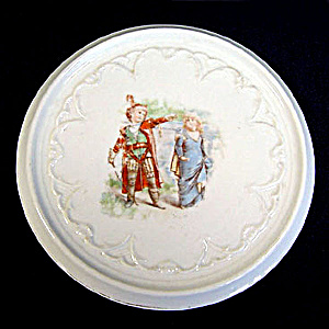 Children Playing Robin Hood Antique Porcelain Tea Trivet (Image1)