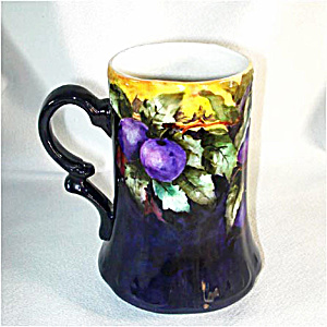 Deep Purple Antique Porcelain Mug or Stein with Hand Painted Plums (Image1)