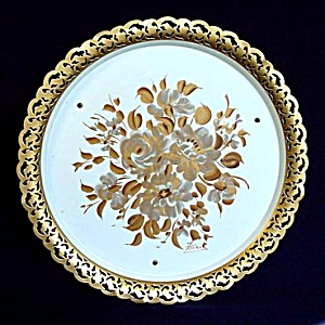 Nashco Musical Hand Painted Gold Flowers Tole Tray (Image1)