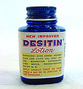 2 Desitin Lotion Vintage Sample Medicine Bottles With Contents (Image1)