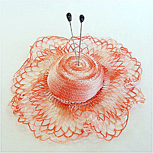 Peach Crocheted Doily Hat Pincushion with Hat Pins (Image1)