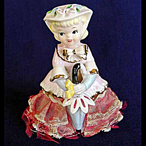 Parasol Girl Porcelain Figurine With Stiffened Lace Dress