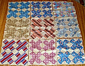 9 Patchwork Quilt Blocks Made of Men's Shirting Fabrics (Image1)