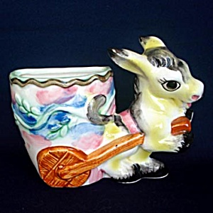 Burro Or Donkey Pulling Cart Ceramic Wall Pocket (Image1)