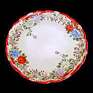 Pre-1920s Japan Hand Painted Floral Serving Plate (Image1)