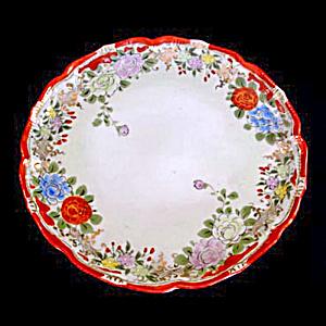 Antique Japan Hand Painted Floral Serving Plate (Image1)