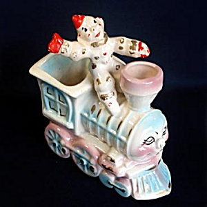 Hollywood Ceramics Clown on Train Engine Figural Nursery Planter (Image1)