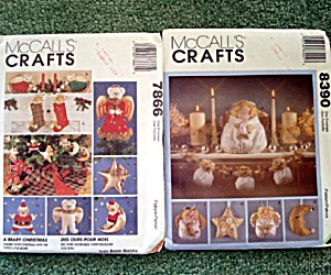 2 Mccalls Christmas Angel And Bear Soft Sculpture Decorations Patterns