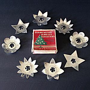 box 1927 diamond ray punched tin christmas light reflectors