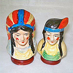 Indian Chief And Squaw Bust Vintage Salt And Pepper Shakers