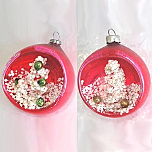 2 Pink Snowy Christmas Tree Glass Diorama Indent Scene Ornaments (Image1)