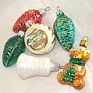 6 Figural Glass Christmas Ornaments Bell, Pinecones, Sun Face, Teddy Bear (Image1)