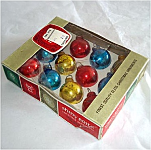 Box 1965 Shiny Brite Miniature Red, Blue, Gold Christmas Ornaments (Image1)