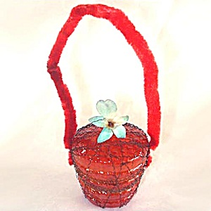 Germany Wire Wrapped Flower Basket Christmas Ornament (Image1)