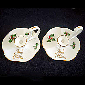 Pair Miniature Bone China Christmas Holly Candlesticks (Image1)