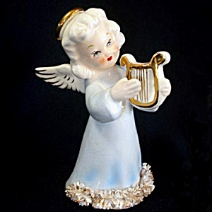 1950s Spaghetti Angel Figurine in Blue Gown with Lyre (Image1)