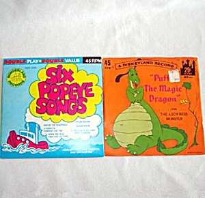 Puff The Magic Dragon and Popeye, 2 Child's 45 RPM Records (Image1)