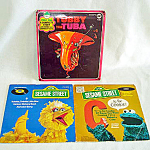 Cookie Monster, Big Bird, Tubby Tuba Child's 45 RPM Records (Image1)