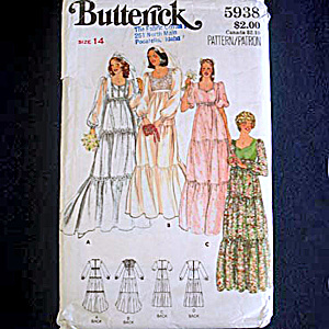 Butterick Bridal And Bridesmaid Wedding Gown Sewing Pattern Size 14