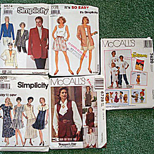 Lot Of 5 Uncut Multi Size Womens Clothing Sewing Patterns 1990 - 1994