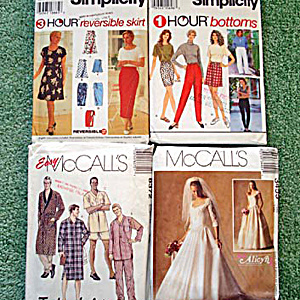 Lot Of 4 Clothing Sewing Patterns 1994 To 2001 In Small To Medium Sizes