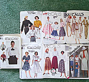 Lot Of 7 Miss Size 12 To 14 1980s Sewing Patterns