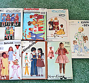 Lot of 7 Children's Clothing Sewing Patterns Sizes 4 - 8, Most Uncut (Image1)
