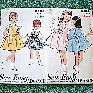 2 Advance Girls Dress And Jumper Sewing Patterns Uncut Size 4-6
