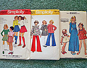 Lot of 3 Girls 1970s Size 14 Smock, Dress, Short Skirts Sewing Patterns (Image1)