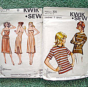 2 Kwik Sew Patterns For Knit Shirts And Slips, Camisoles